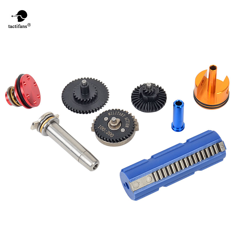 Tactifans 100:200 Super High Speed Gear 15 Teeth Piston Cylinder Piston Head Spring Guide Nozzle Full tune up kit for G36 m4 ver 2 aeg airsoft accessories high speed gear piston head spring guide nozzle cylinder 13 1 16 1 18 1 200 100 300 100 cnc