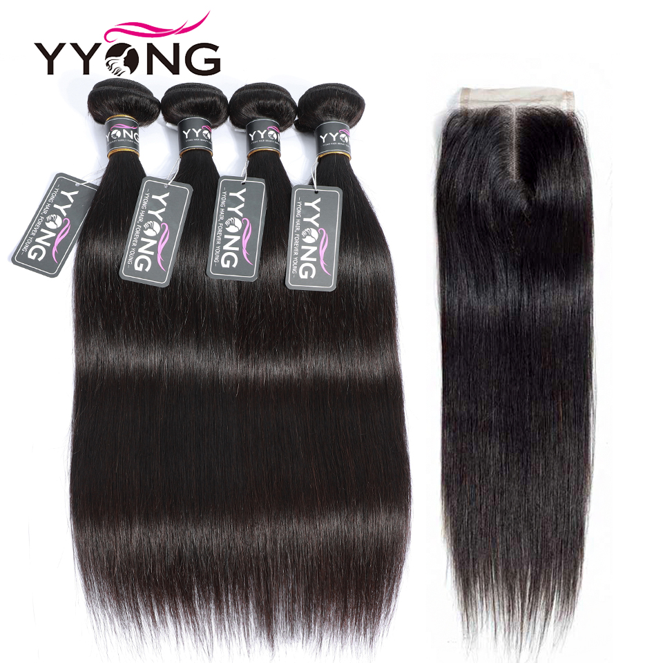 Yyong Straight Hair Bundles With Closure Brazilian Hair Weave Bundles 100 Human Hair Extensions Bundles With