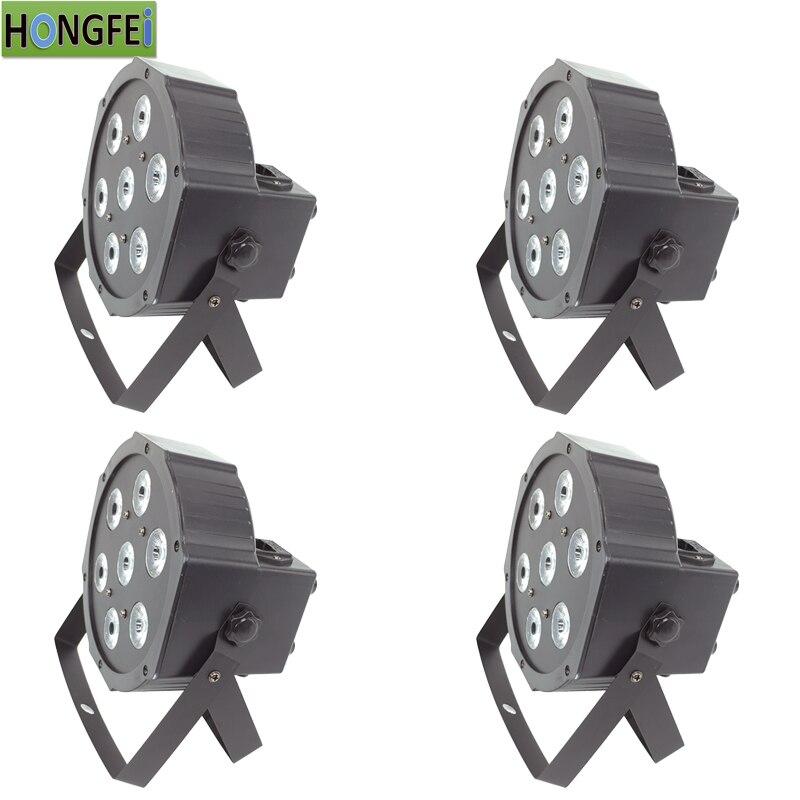 4pcs lot RGBWA UV led par 7x12w 6 in 1 falt par In Out Plug dmx512