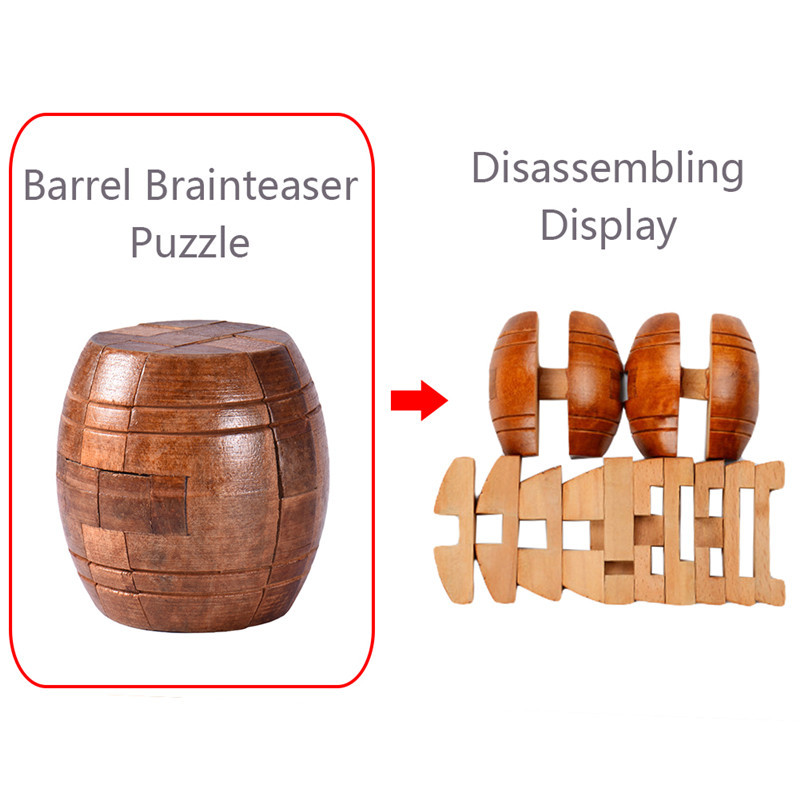 Hot Barrel Shape Classical Intellectual Toy IQ Brain Teaser Training Test Wooden Puzzle Cube Kong Ming/Luban Lock for Children ...