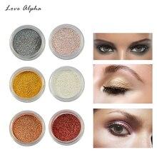 LOVE ALPHA Glitter Powder Eyeshadow Single 16 Colors Makeup Pigments Shimmer Eyeshadow Powder Glitter Eye Shadow Cosmetics