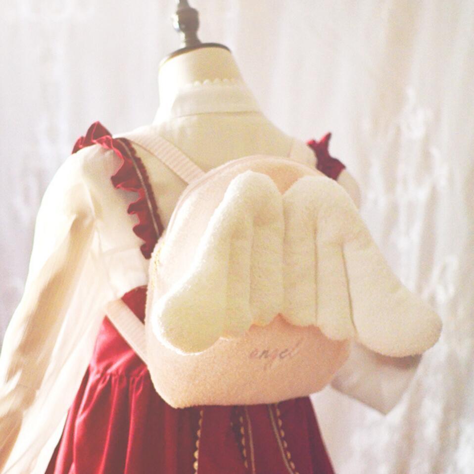 Coeur de jeune fille rose Kawaii ailes d'ange japonais doux Lolita fille fée sac à dos mignon Harajuku sacs en peluche