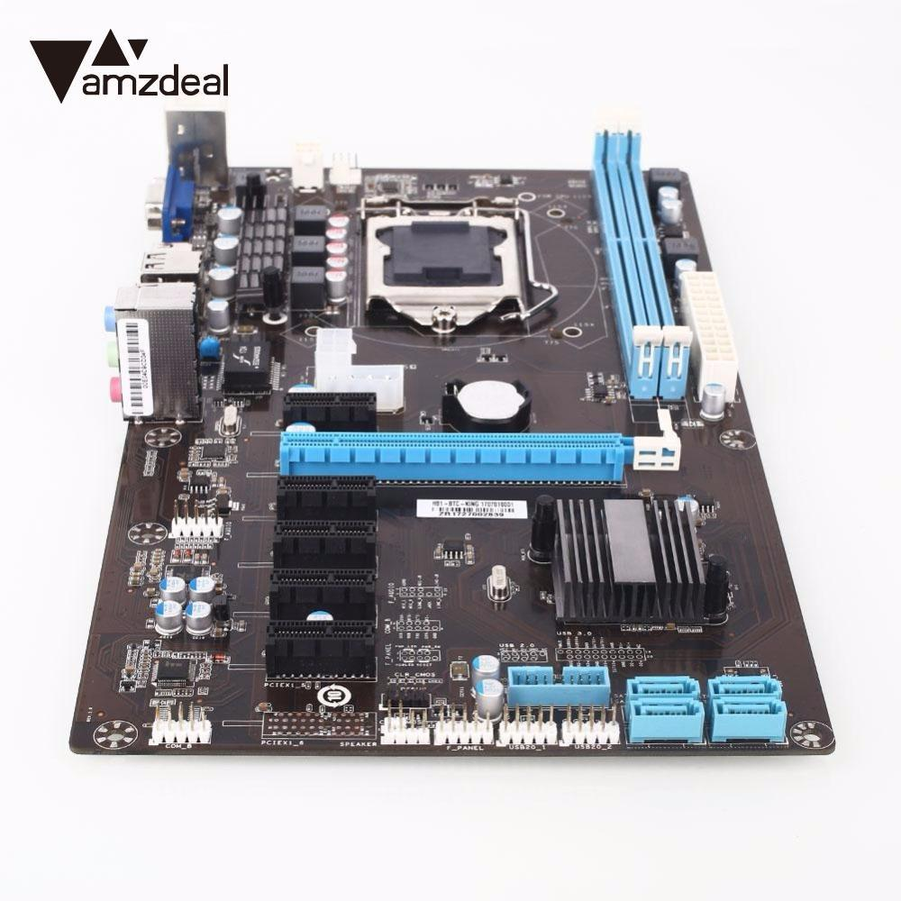 AMZDEAL High quality Motherboard for Intel H81 chipset PCI-E 1X H81 6GPU New High Speed Integrated Graphics Computer for Ming