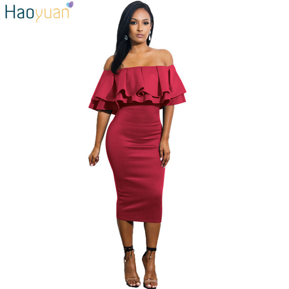 HAOYUAN Women Off Shoulder Summer Dress 2018 Vintage Ruffle Blue ...