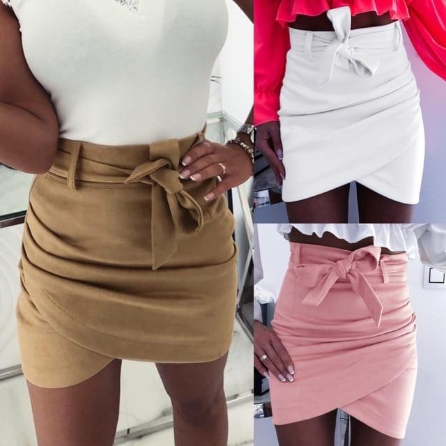 Asymmetric belt suede skirts women Bodycon leather Spring skirts 2019 New Sexy streetwear High waist Bandage short skirts femme 1