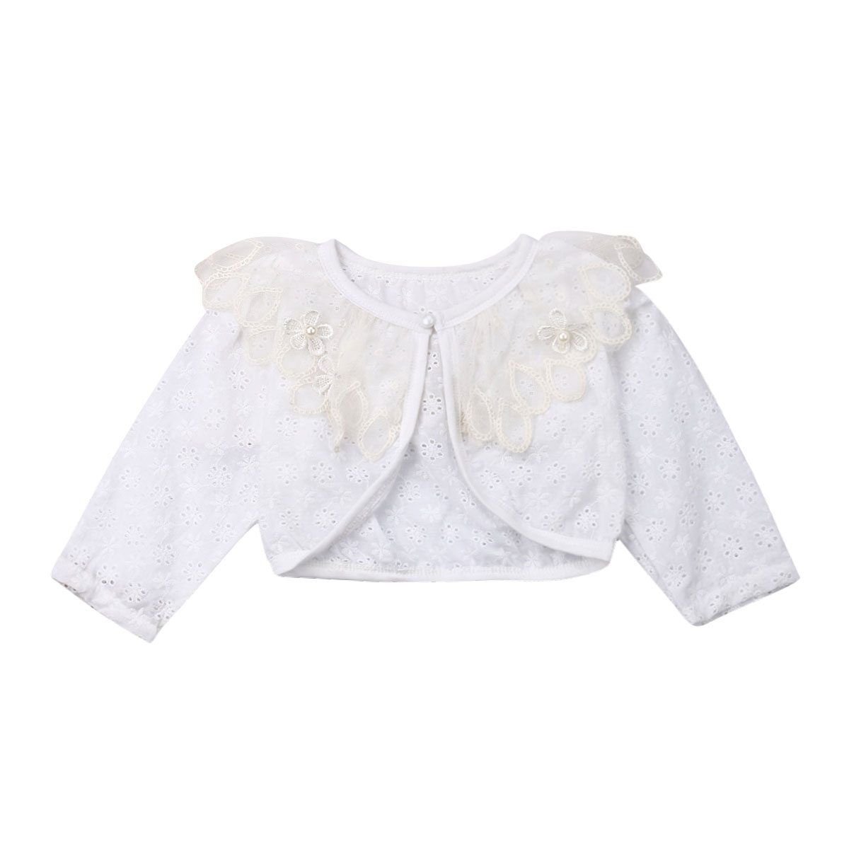 Girls Faux Fur Bolero Shrug Cotton Lace Flower Cardigan Top Party SZ 1-12 Years