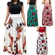 цены 2019 Casual Maxi Dress Bohemian Print 4XL 5XL Plus Size Boho Summer Robe Women Dress Elegant Long Dresses Beach Clothes Vestidos