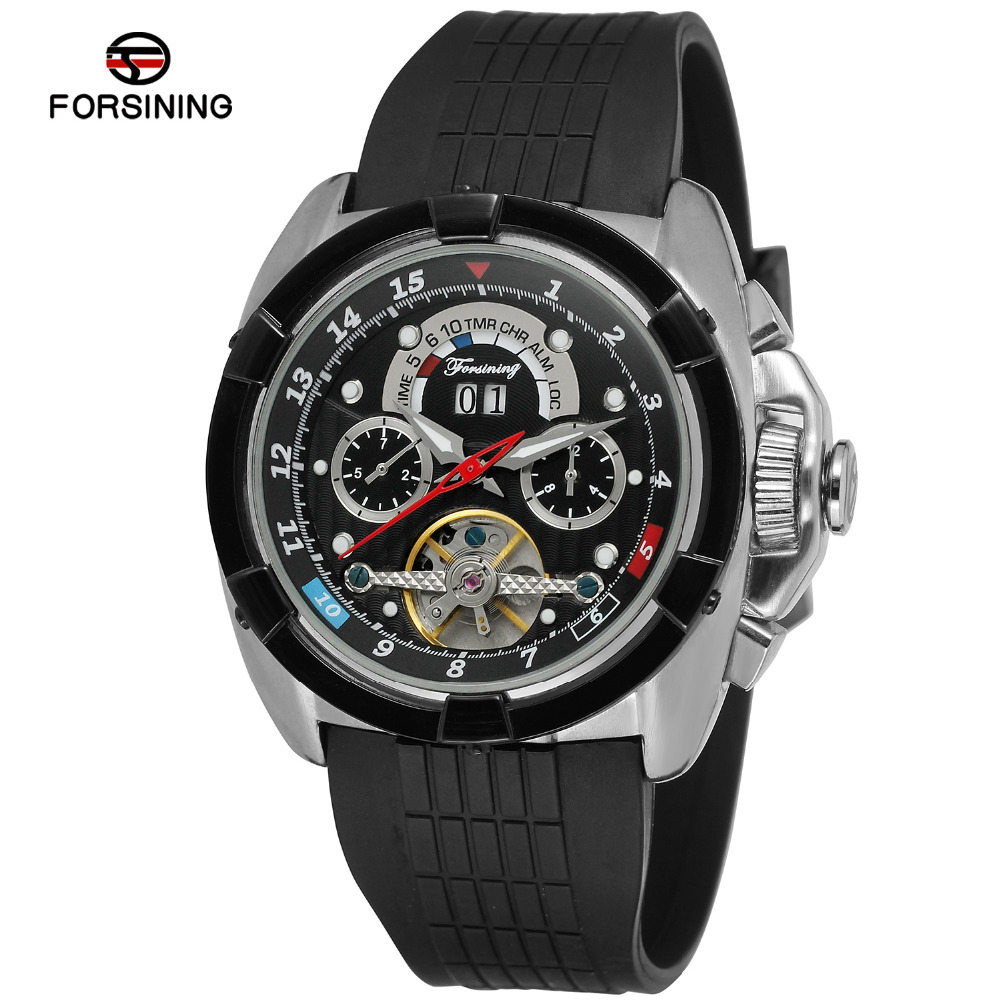 Forsining Men's Watch New Design Automatic Calendar Rubber Strap  High End Trendy Tourbillion Wristwatch Color White FSG291M3-in Mechanical Watches from Watches    2