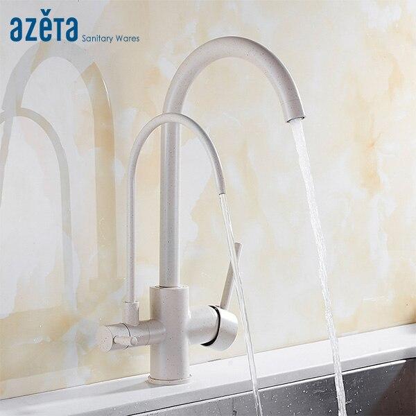 Azeta 3 voies robinet cuisine robinets monotrou pont monté eau purifier fonction 360 degrés pivotant cuisine évier robinet AT2188P