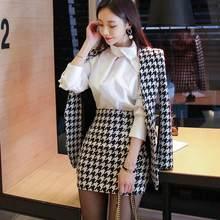 a313e617c 2018 invierno Plaid Patchwork lana traje mujeres cuello en V Tweed Blazer  chaqueta + Bodycon Mini falda lápiz traje trabajo 2 pi.