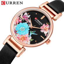 CURREN Womens Watches Flower Bird Black Reloj Mujer Slim Dial Lady Dress Quartz Leather Belt Bracelet Wrist Watch Zegarek Damski