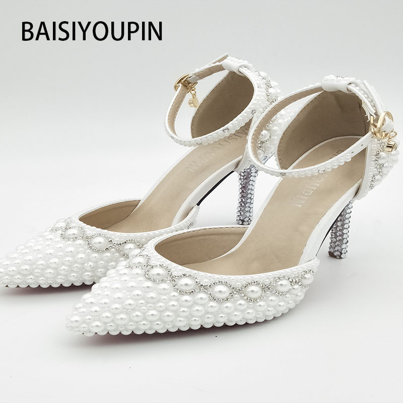 e6ddb96710ed1 2017 New Summer White Pearl Diamond Wedding Shoes High Heels Bride Dress  Shoes Show Party Sandals Two Pieces A Word Buckles-in Women s Pumps from  Shoes on ...