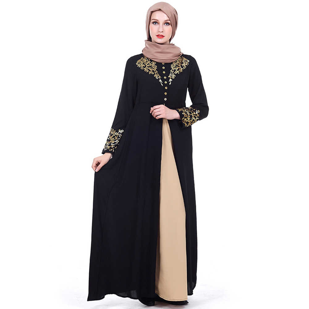 339a9002b053 ... Muslim Dress Women Elegant Gold Stamping Printing Dubai Abaya Dresses  Casual Long Sleeve Kaftan Maxi Dress ...