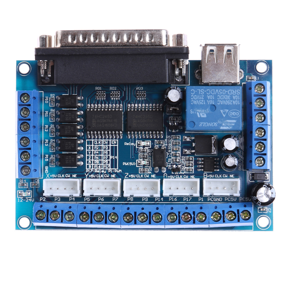 CNC LPT Port Softs Stepping Motor Driver Interface Adapter DC 12-24V Breakout Board with USB Cable for Mach3