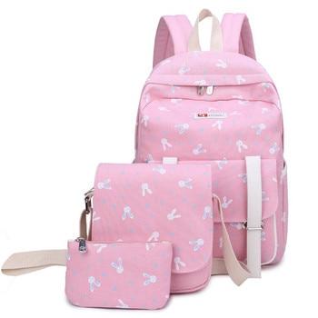цены Canvas Printing School Bags For Girls Kids School Backpack 3pcs/set Children Schoolbags Fashion Girl Backpacks travel rucksack