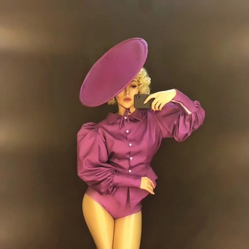 Violet Sexy Bodysuit Female Singer Stage Dancer Costume Nightclub Cosplay Party Show Jumpsuit Women's Oufit Birthday Clothing