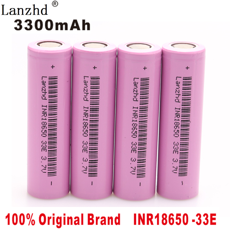 4PCS 2018 100 New Original brand 18650 3300mah Lithium 3 7V INR18650 33E Rechargeable Battery For Flashlight batteries in Rechargeable Batteries from Consumer Electronics