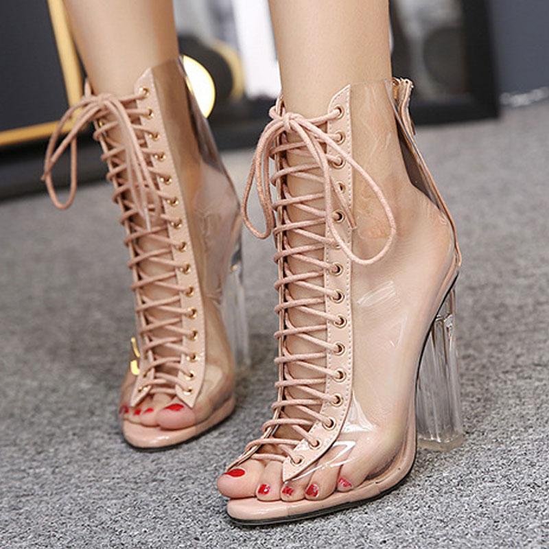 34b77beae NewTransparent BORRUICE Verão Mulher Sapatos Sandálias e sandálias  Confortáveis sapatos de Salto Alto Mulheres Grossas Rendas