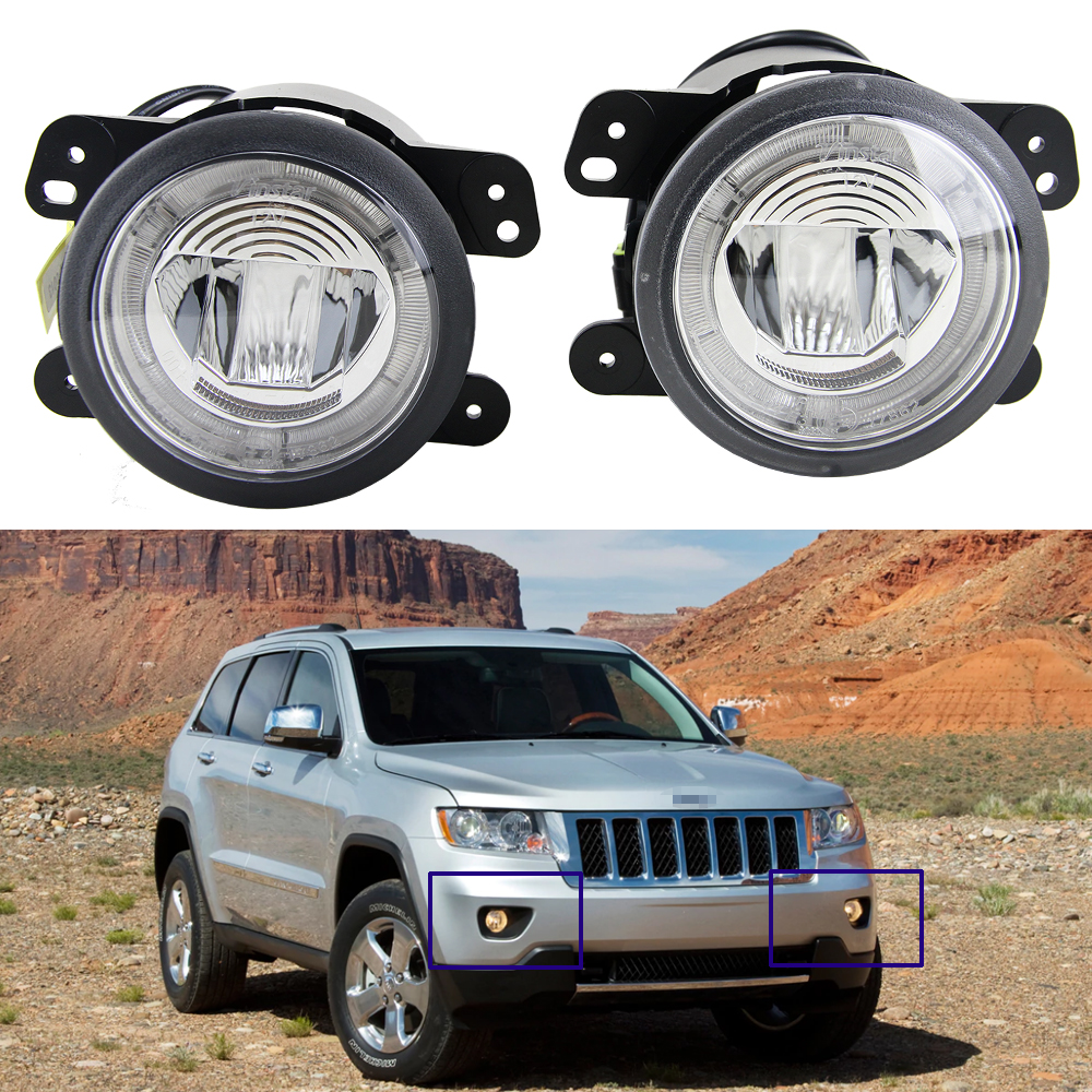 hight resolution of 100 waterproof led fog light headlight with halo drl lamp for offroad jeep grand cherokee 2011 2012 2013 12v car styling