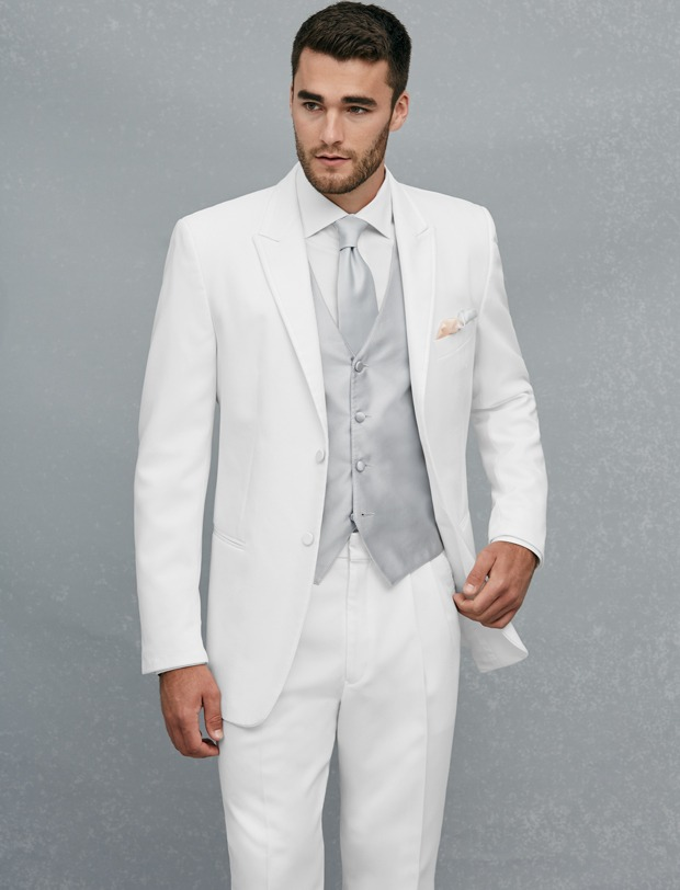 New Arrival Two Buttons White Groom Tuxedos Groomsmen Men\'s Wedding ...