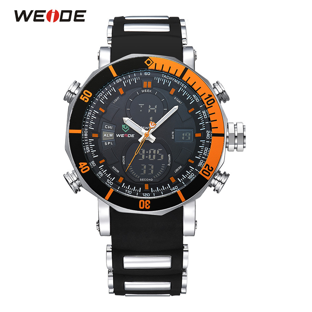Casual Brand WEIDE Sport Watch Men Orange Digital Quartz Watch PU Silicone Band LED Date Day Dual Time Wristwatches Man Relogios weide casual genuin brand watch men sport auto date quartz digital silicone waterproof wristwatch multiple time zone masculino