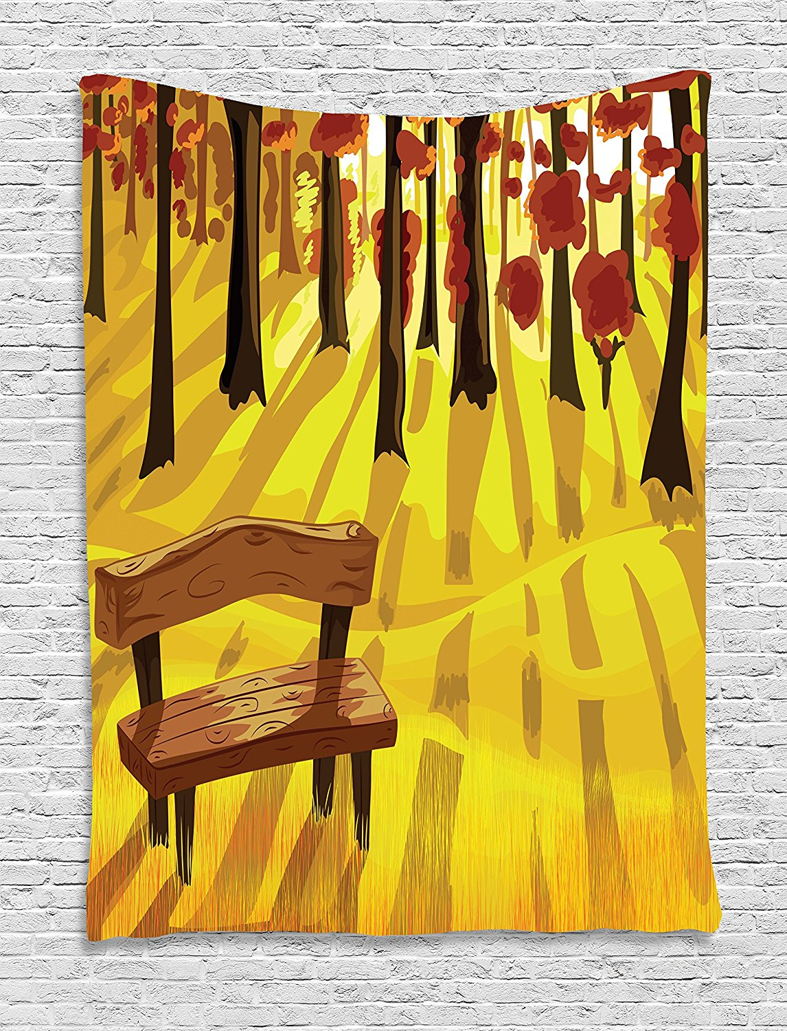 Forest Tapestry Cartoon Lonely Bench in Autumnal Park with Seasonal Abstract Growth, Wall Hanging for Bedroom Living Room Dorm
