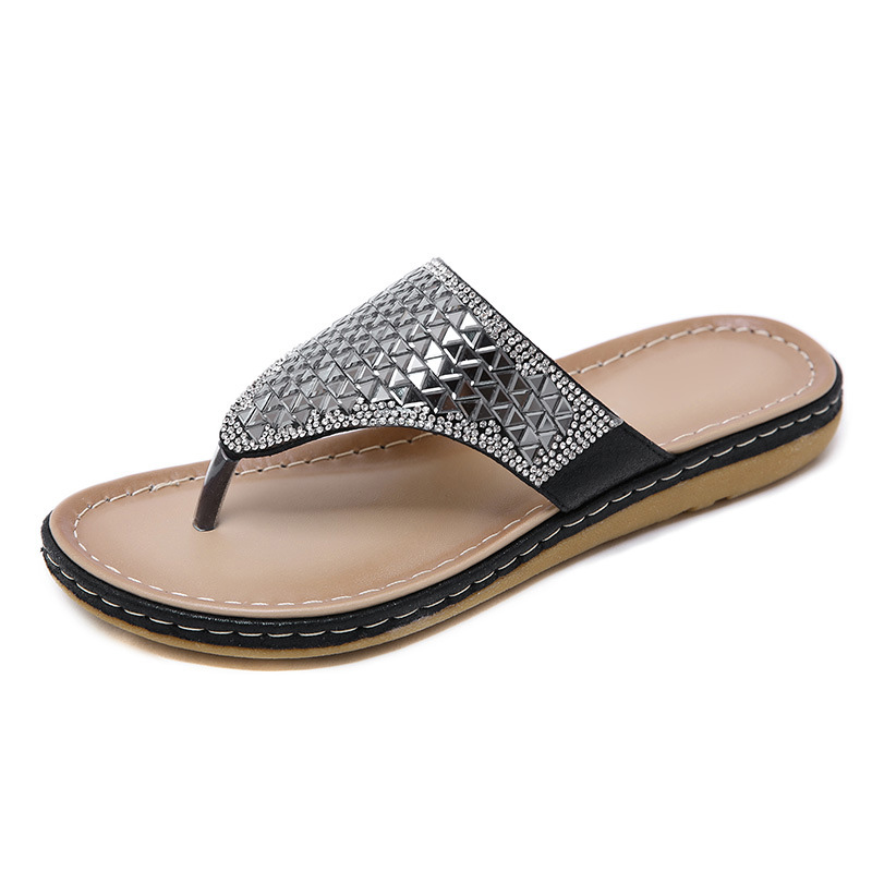 2020 Summer Women Slippers Bling Shoes Flat Beach Slippers Flip Flops Summer Ladies Shoes Soft Comfortable A905 5