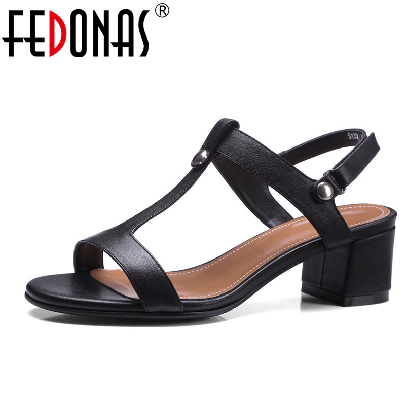 FEDONAS New Fashionable Sexy Women Line Style Buckle High Heels Black Genuine Leather Open Toe Dress Sandals Female Shoes Woman women s fashionable sexy maid style net yarn sleep dress black white