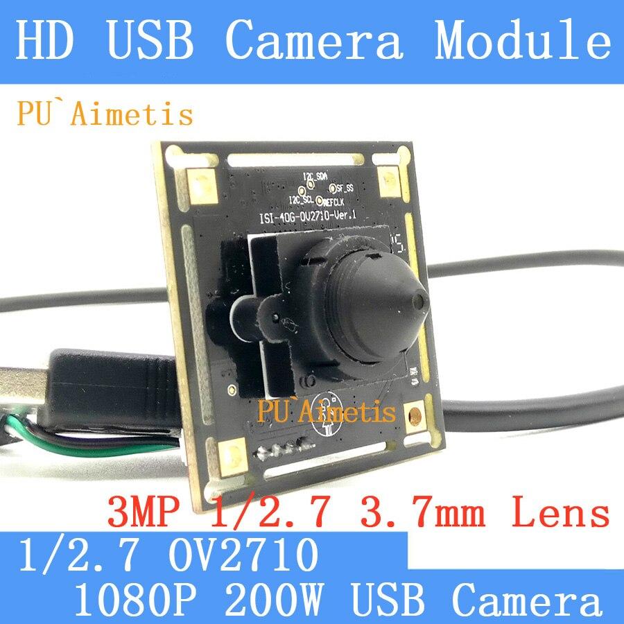 PU`Aimetis Mini Surveillance camera 3MP 3.7mm 1080P Full Hd MJPEG 30fps High Speed CMOS OV2710 CCTV Linux UVC USB Camera Module