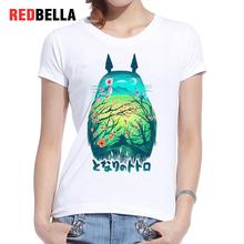 REDBELLA Tee Shirt Femme Totoro Miyazaki Flowers Forest Magical Anime T-shirt Feminino Cartoon Casual Printed Clothing Women New
