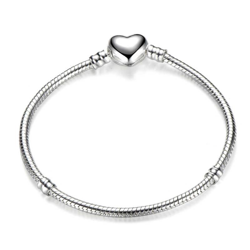 Octbyna moda Chapado en plata en forma de corazón serpiente cadena encanto pulsera para mujer marca pulsera y brazalete DIY joyería hacer regalo