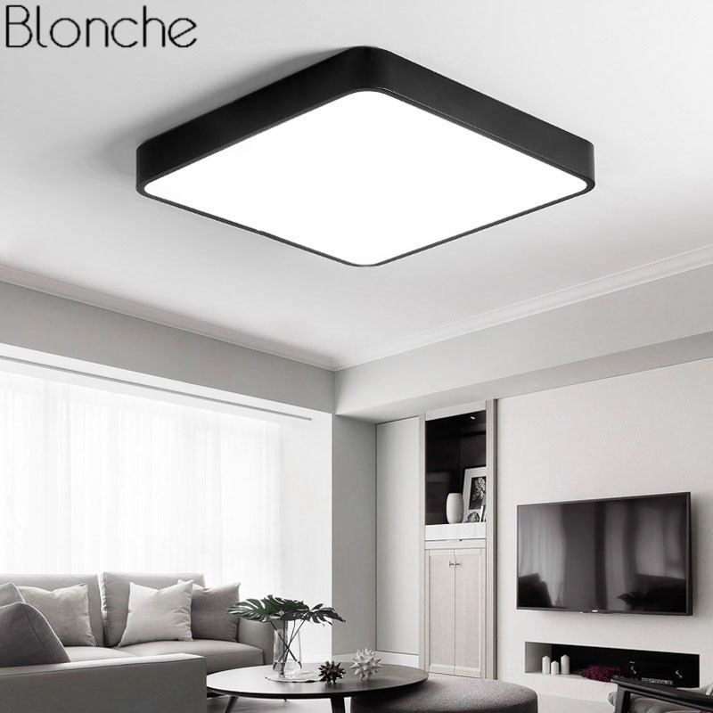 Modern LED Ceiling Lights Iron Square Ceiling Lamp Luminaire For Living Room Kitchen Light Fixture Indoor Home Lighting Thin 5cm ultra thin 5cm wooden acrylic led ceiling lights for living dining room home lighting 60w 96w modern large ceiling lamp fixture