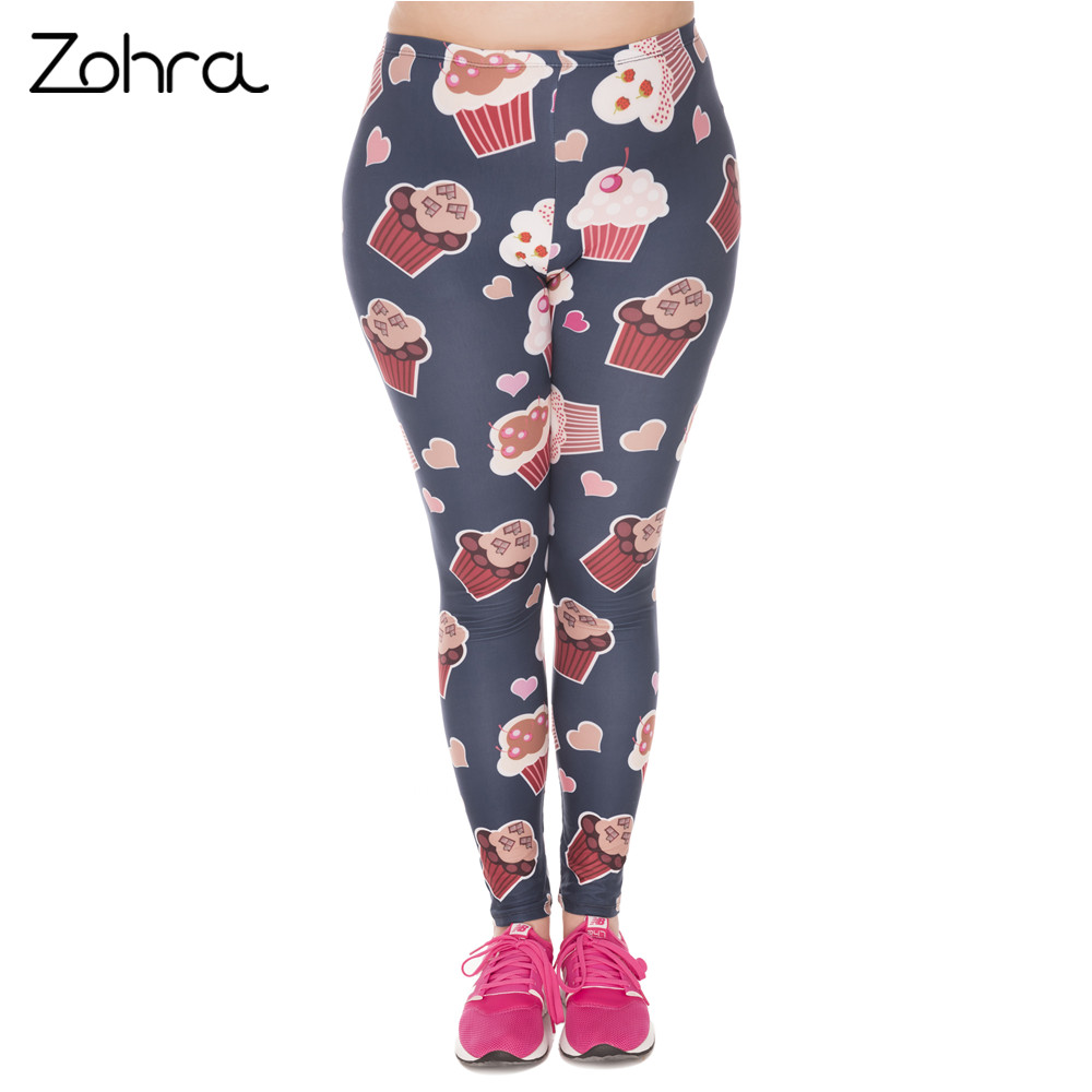 Zohra Fashion Large Size Leggings Muffin Printed High Waist Leggins Plus Size Trousers Stretch Pants For Plump Women