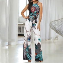 Loose Sleeveless Jumpsuit Women Summer Sexy Shoulder Casual Jumpsuits Wide Leg Rompers High Waist