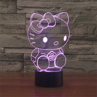 Good Looking Hello Kitty 3D USB Touch Switch Night Light Lamp LED Light Atmosphere Bedroom Desk