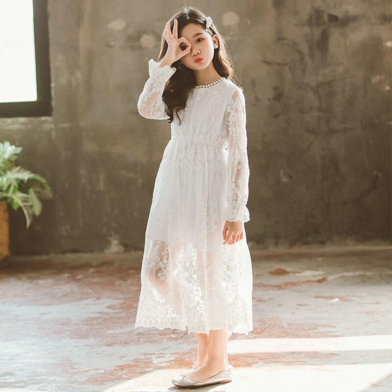 Image 2 - 2019 New Children White Lace Dress Baby Princess Dress Summer Girls Dress Kids Maxi Dress Toddler Floral Clothes Beautiful,#5132Dresses   -