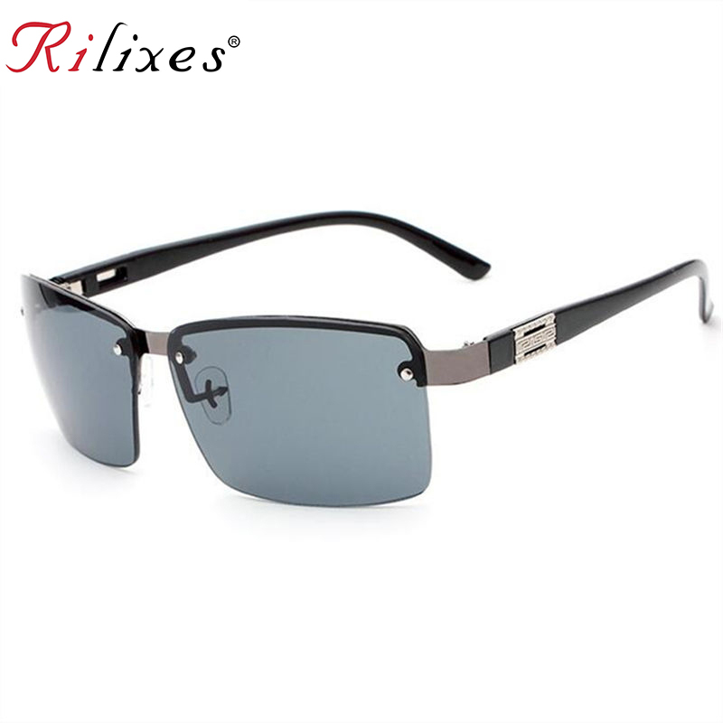RILIXES 2018 Sunglasses Men  Famous Brand Designer Driving Sun glasses Male Mirror Lens Gafas Oculos UV400 with bag