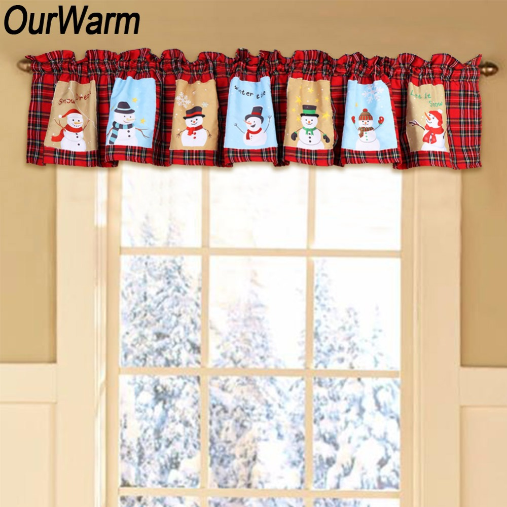 OurWarm Red And White Plaid Window Valance Snowman Pattern Polyester Kitchen Curtain Panel Tapestry Christmas Window Decoration