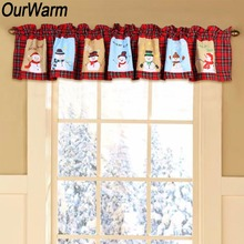 OurWarm Red And White Plaid Window Valance Snowman Pattern Polyester Kitchen  Curtain Panel Tapestry Christmas Window