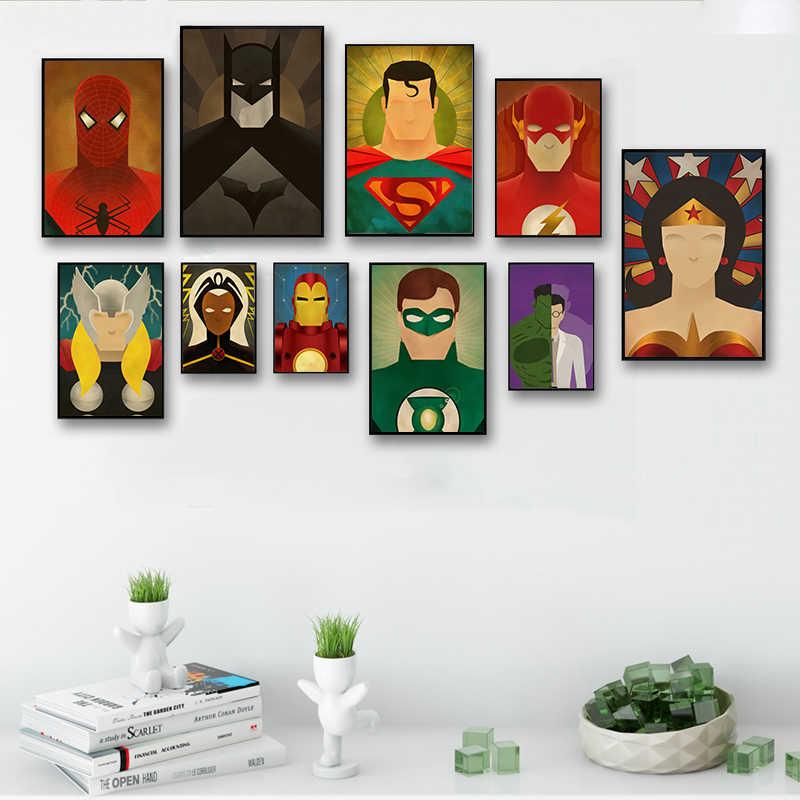 Элегантный поэтический супергерой Мститель вспышка живопись на холсте, мультфильмы художественный Принт плакат картина рисунок на стену домашний декор