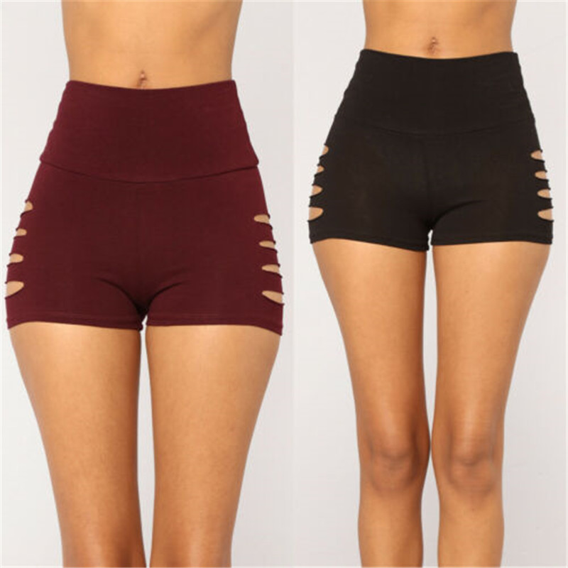 Women Hot Gym Sports Slim Fit Hole Casual Solid Color Shorts Dance Sports Beach Stretchy Workout Bottoms S M L XL