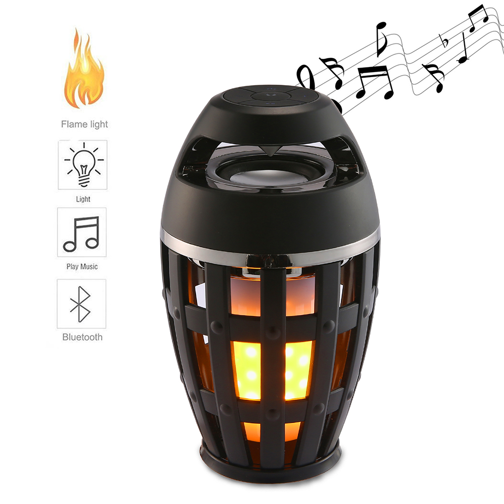 LED Flame Table Lamp Wireless Bluetooth Speaker Portable Stereo Speaker with Flickers Yellow Lights BT4.2 for Android IOS Phone