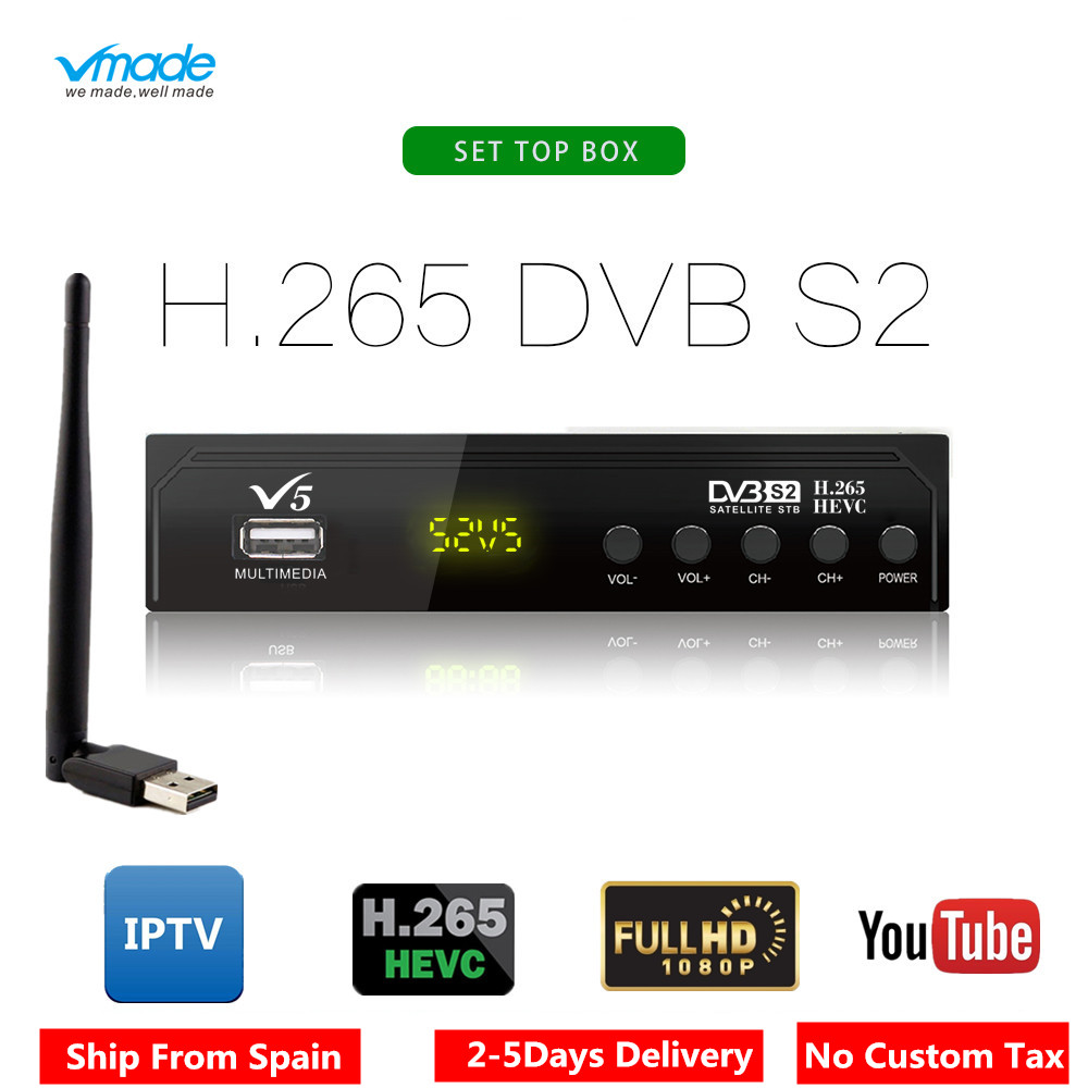 Vmade V5 DVB S2 HD Digital Terrestrial Satellite Receiver H 265 MPEG 2 4 Support AC3