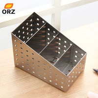 Multifunctional Storage Box Stainless Steel Desk Cosmetics Makeup Organizer Box Stationery Tableware Storage Container