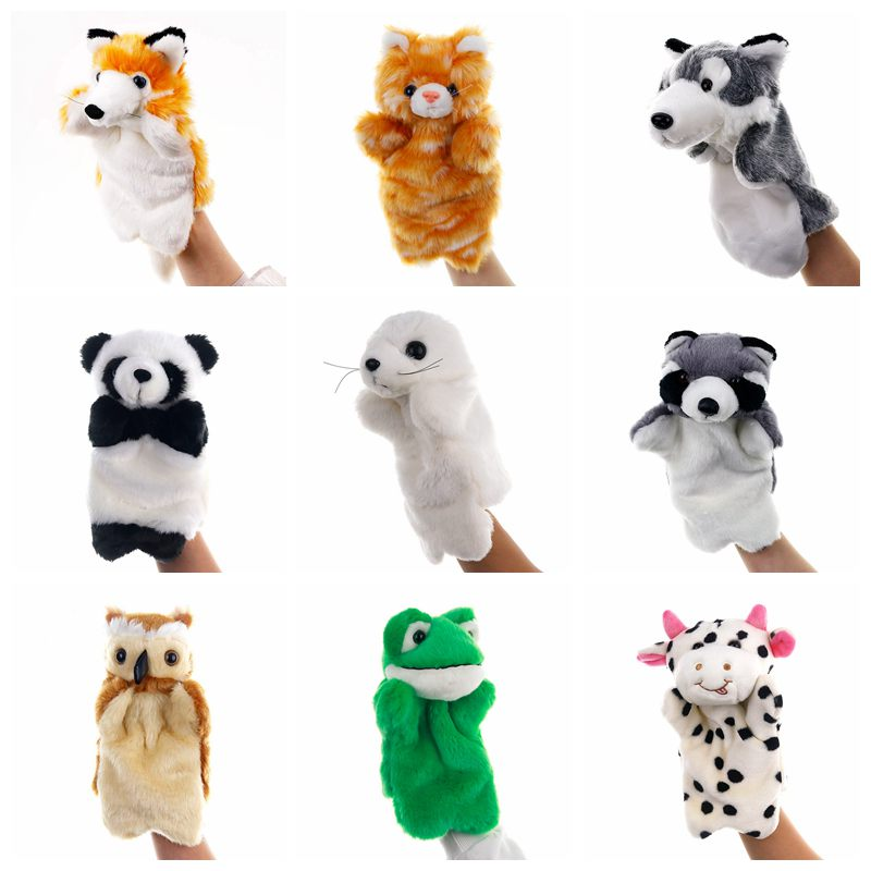 Kawaii Panda Hand Puppet Cute Animal Frog Cow Mouse Puppet Plush Toy Animals Dolls Glove Hand Puppets Stuffed Toys For Children