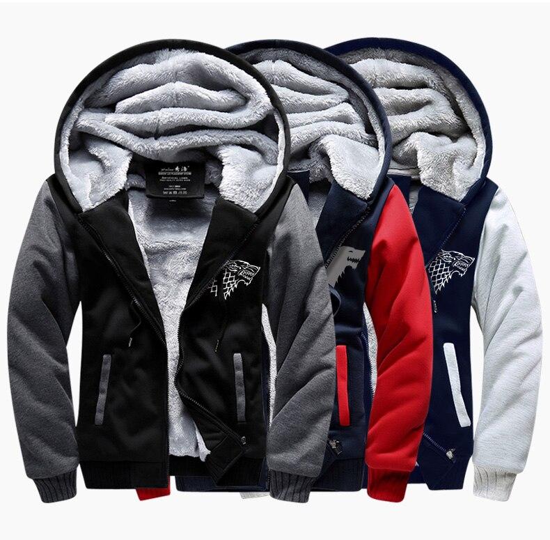 2017 New Winter Jackets Coats game of thrones hoodie Anime TV Hooded Thick Zipper Mens cardigan fleece slim zipper Sweatshirts