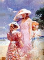 Famous Painter Pino Oil Painting Seaside Lanscape Impression Portrait For Living Room Decoration Customized