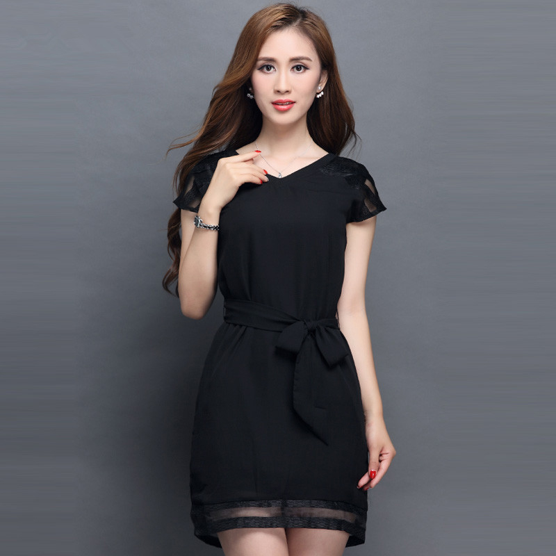 Womens Elegant Short Sleeves Mesh Work Business Causal Vintage Bodycon Chiffon Slim Plus Size Black Dress L7264