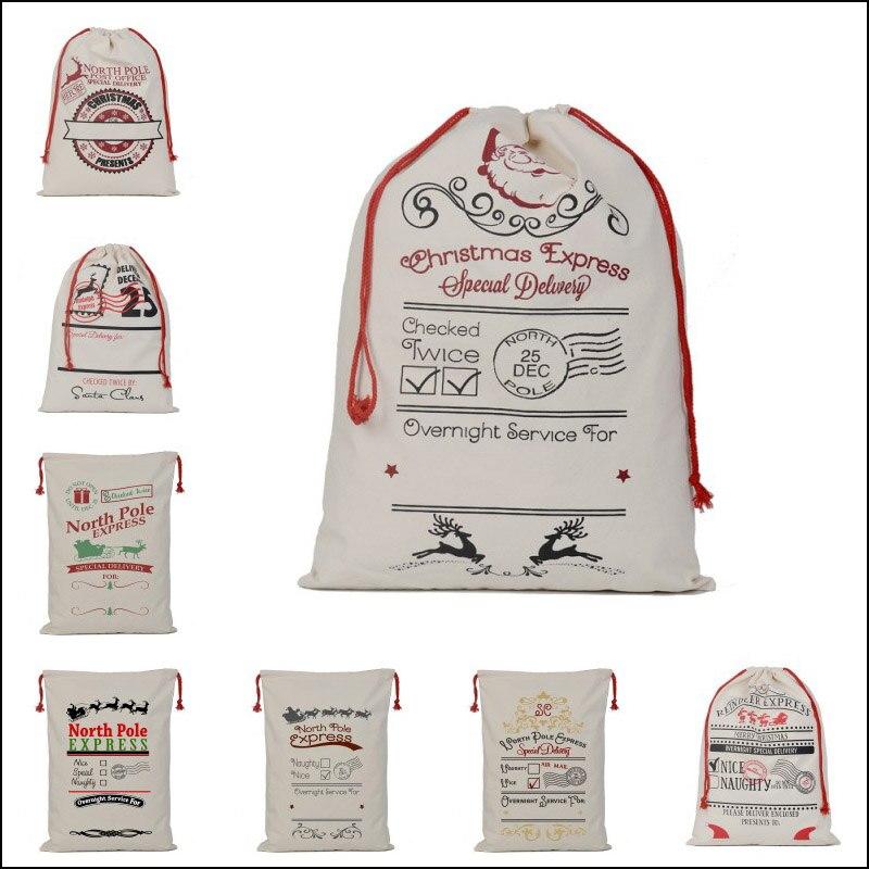 100 pcslot christmas gift bags large canvas santa sack elk canvas drawstring bag christmas decorations for home 2018 - Large Christmas Gift Bags