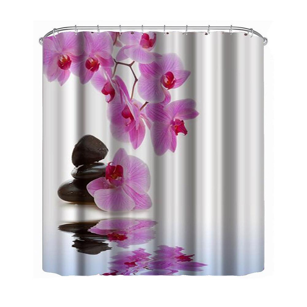 ดอกไม้กันน้ำม่านอาบน้ำโพลีเอสเตอร์ผ้าอาบน้ำอาบน้ำห้องน้ำผ้าม่านด้วยตะขอสำหรับตกแต่งบ้าน